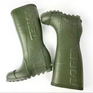 NWOT! Sorel Joan Rain Wedge Tall Olive Boot